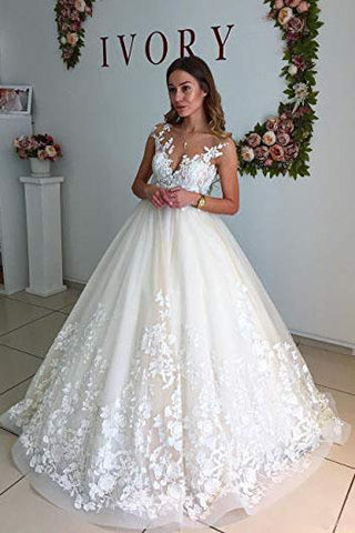 Ball Gown Lace Appliques Tulle Backless Cap Sleeve Wedding Dresses Bridal Dresses SME333