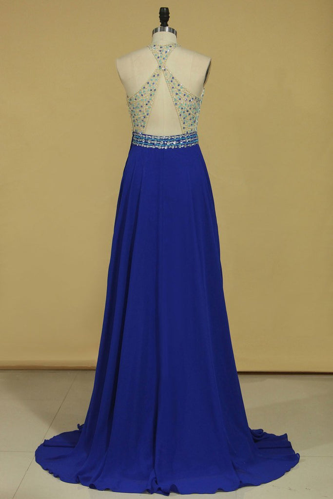 Sexy Open Back Halter Beaded Bodice A Line Chiffon Sweep Train Prom