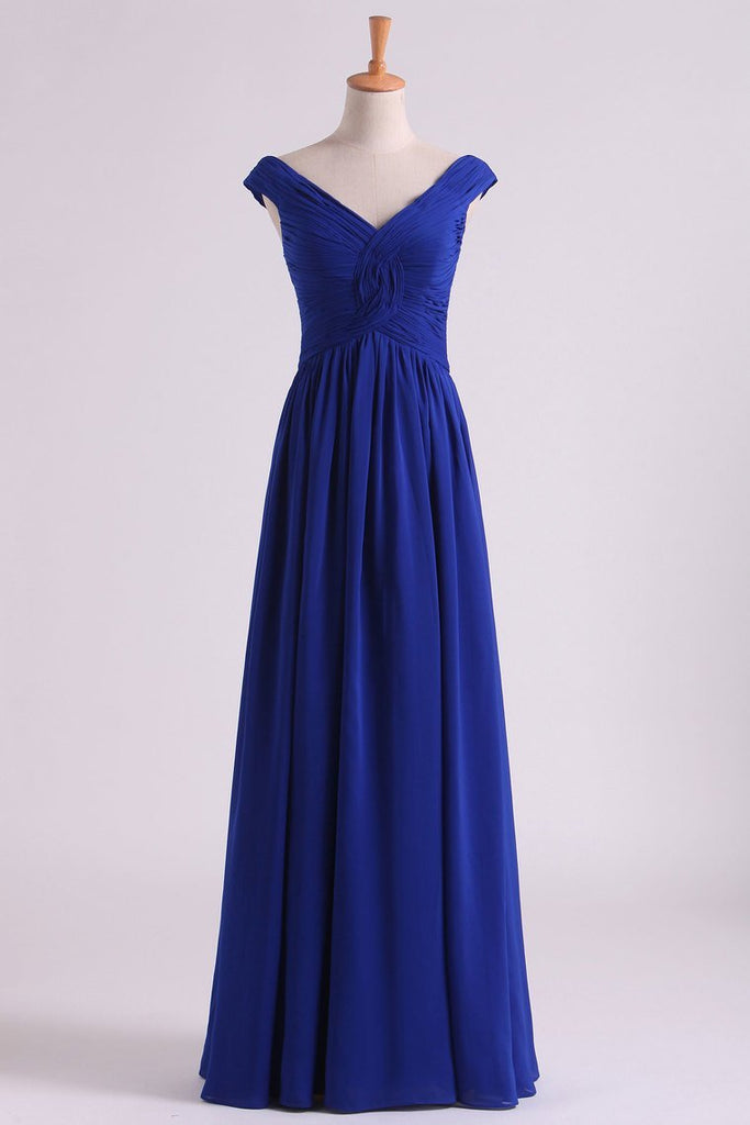 2019 Off The Shoulder Evening Dresses A Line Ruched Bodice Chiffon Floor Length Dark Royal Blue