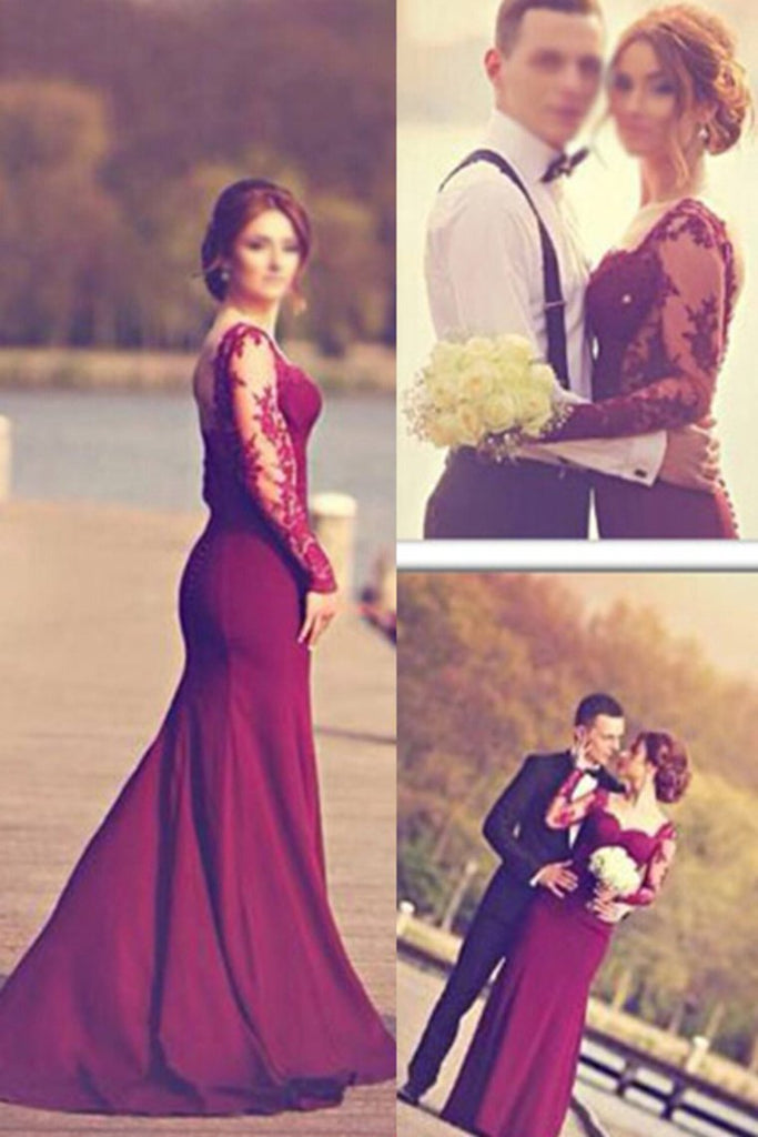 2020 Long Sleeves Prom Dresses Spandex Mermaid With Applique Burgundy/Maroon