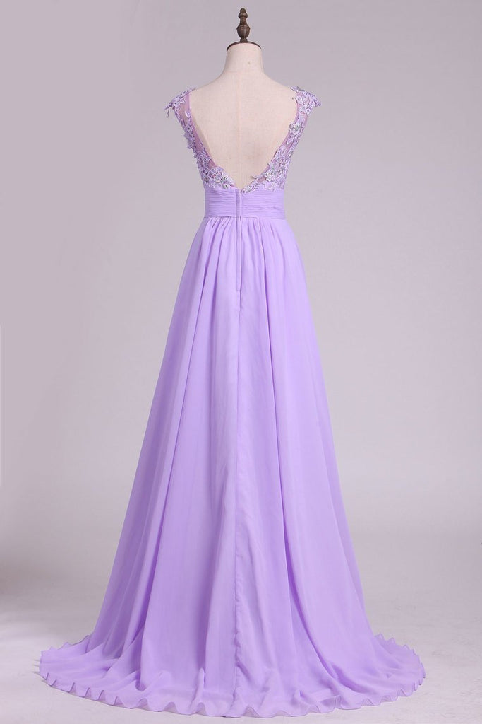 2021 New Arrival Bateau Prom Dresses A Line Chiffon With Applique And Beads