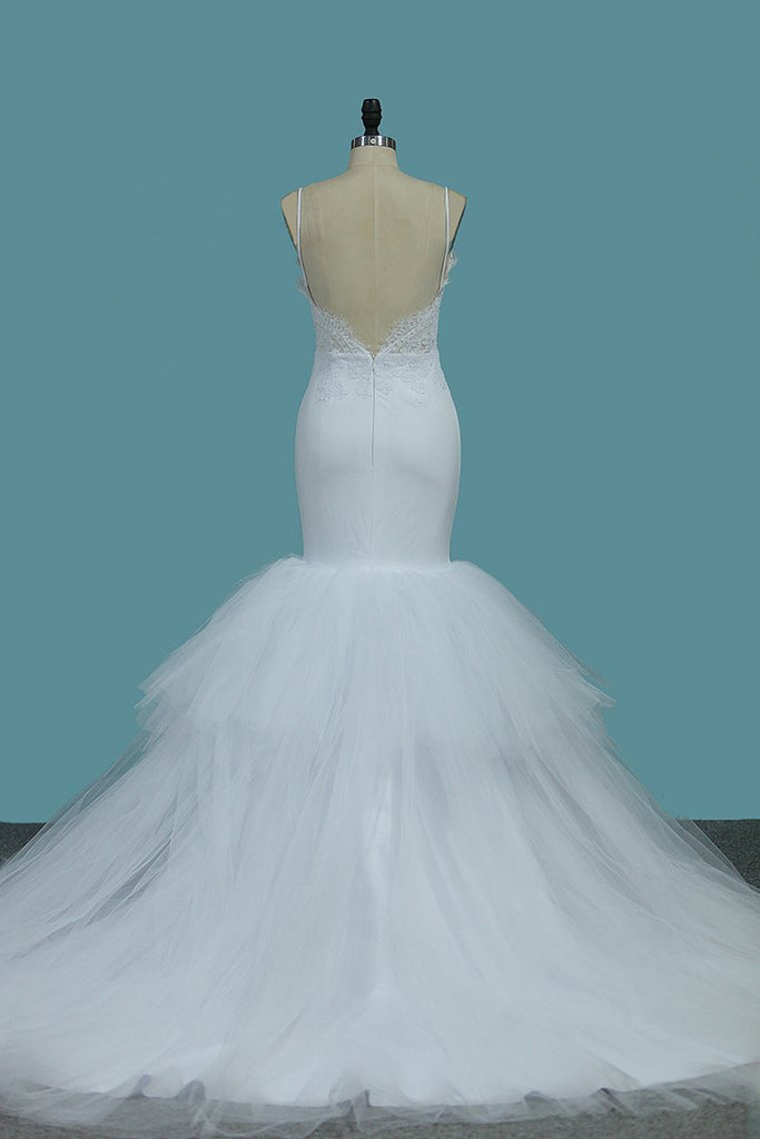 2020 Mermaid Spaghetti Straps Tulle With Applique Open Back Wedding