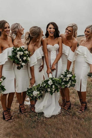 Simple Off the Shoulder White Short Bodycon Bridesmaid Dresses, Prom SME20487