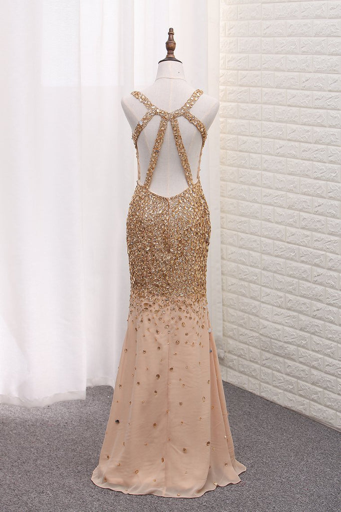 2020 Luxury Mermaid Chiffon Beaded Bodice Straps Prom Dresses With Slit