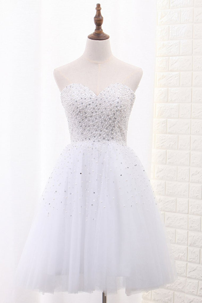 2019 Tulle Homecoming Dresses A Line Sweetheart Beaded