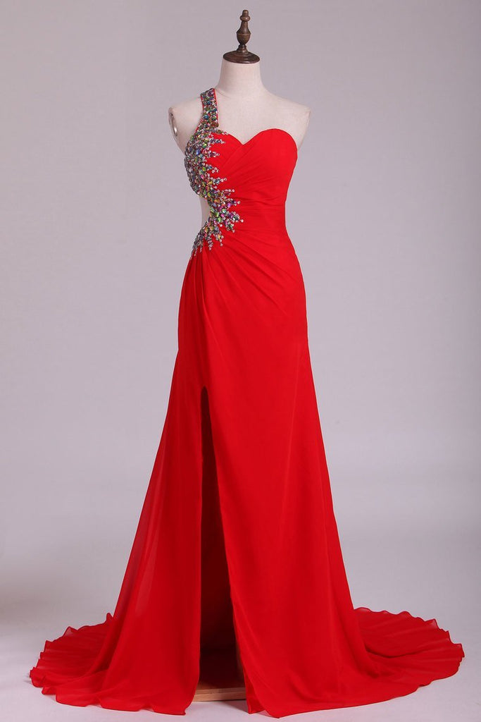 2021 One Shoulder Sheath Prom Dresses Red Chiffon With Beads And Slit