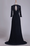 2020 Mother Of The Bride Dresses Mid-Length Sleeves Chiffon With Applique Sweep Train