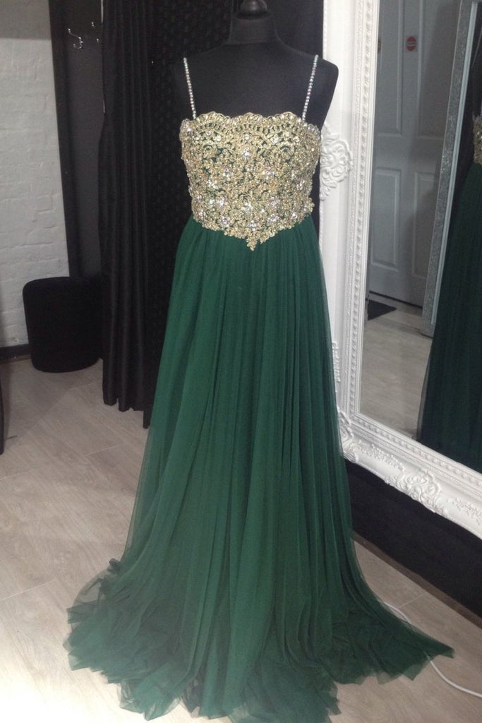 Prom Dresses Spaghetti Straps Floor-Length Tulle With