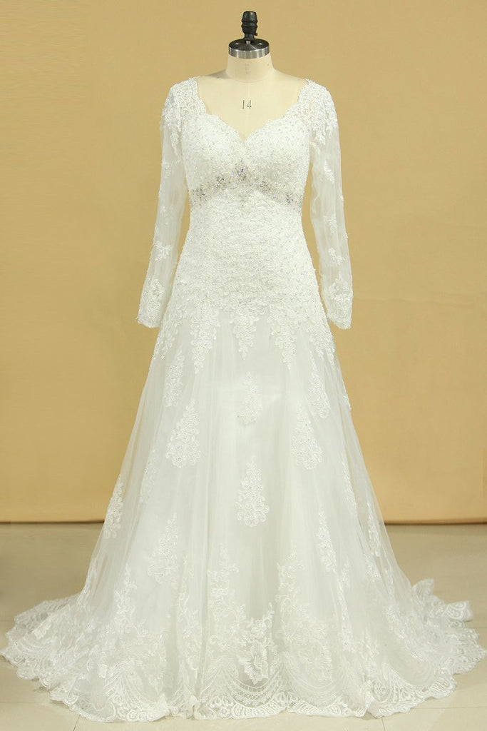 2021 Plus Size V-Neck Long Sleeves Wedding Dresses With Applique Tulle