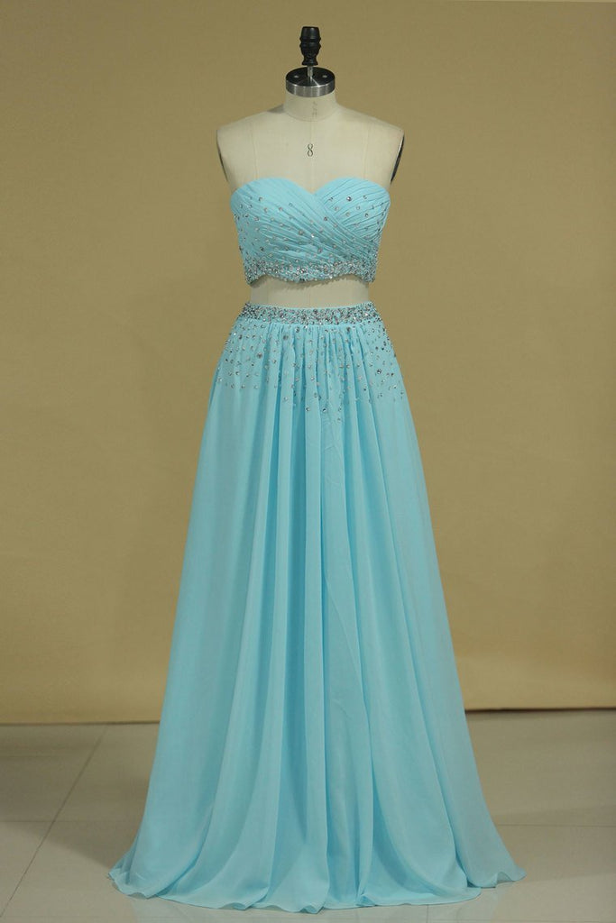 Two Pieces Sweetheart Prom Dresses Chiffon With Beads And Ruffles A