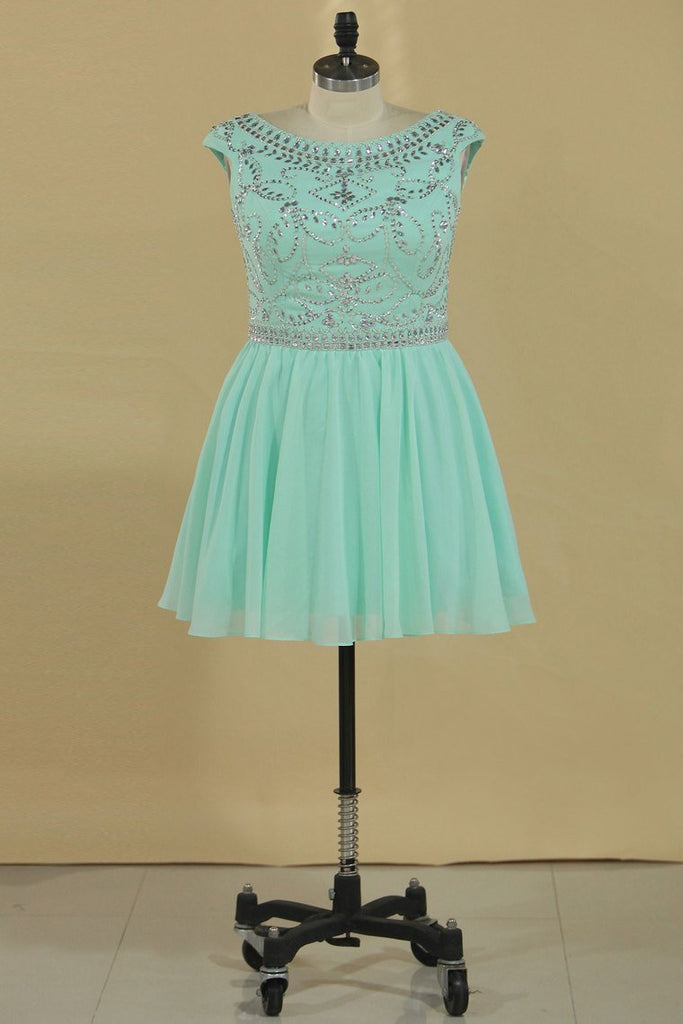 2020 Homecoming Dresses Scoop Cap Sleeves Beaded Bodice A Line Chiffon