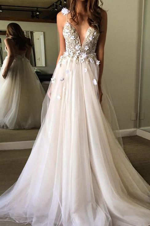 Sexy Spaghetti Straps V Neck A Line Tulle Ivory Backless Prom Dresses Wedding Dresses JS28