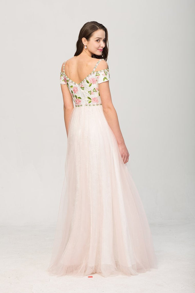 2020 Floral Spaghetti Straps Prom Dresses A Line Tulle Floor Length