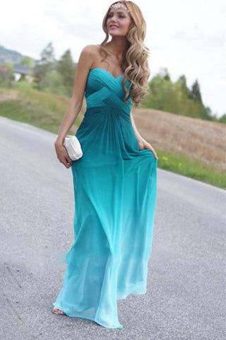 Green A-line Long Real Beauty Peacock Green Strapless Gradient Ombre Chiffon Prom Dresses SME339