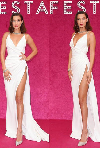 Sexy White V-Neck Backless Mermaid Spaghetti Straps with Slit Ruffles Prom Dresses UK JS411