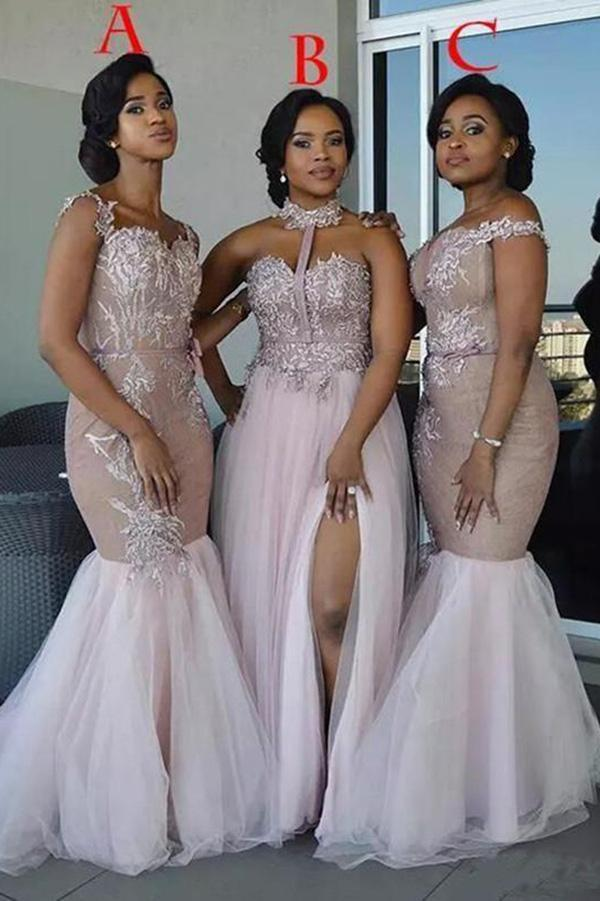 Mixed Style Long Lace Appliques Mermaid Tulle Blush Pink Long Bridesmaid Dresses JS835