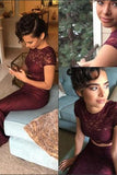 Sexy Two Pieces Burgundy Lace Mermaid Long Short Sleeves Floor Length Prom Dresses JS158