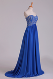 2019 New Arrival Dark Royal Blue Sweetheart Prom Dresses A Line With Beaded Bodice Chiffon