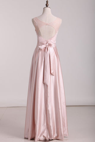 2019 Open Back Scoop A Line Bridesmaid Dresses Satin & Lace Floor Length