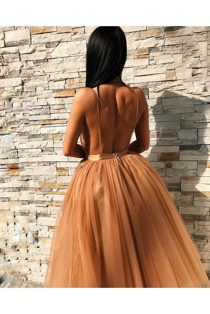 V Neck Backless Floral Prom Gown Homecoming
