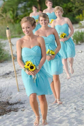 Simple Short Chiffon Open Back Bridesmaid Dresses Cute