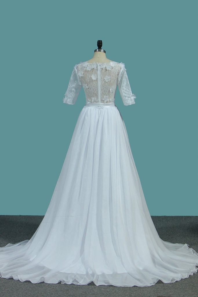 2019 Wedding Dresses A Line Scoop With Sash And Handmade Flower Court Train