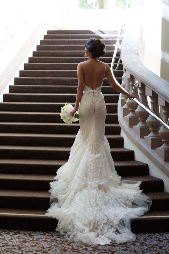 2019 Wedding Dresses Spaghetti Straps Mermaid Tulle With Applique And