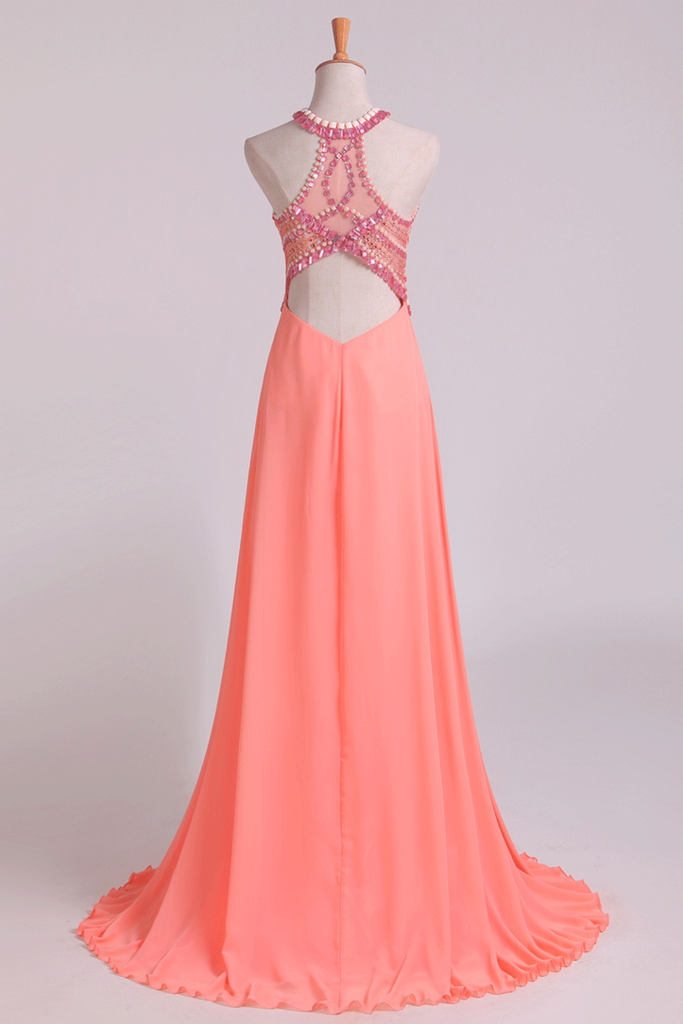 2021 Halter Prom Dresses A Line Chiffon & Tulle Sweep Train With Beading