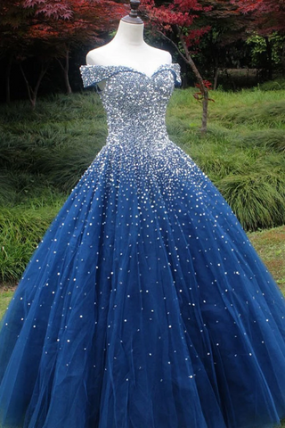 Sparkle Off The Shoulder Blue Ball Gown Prom Dresses, Puffy Tulle Quinceanera