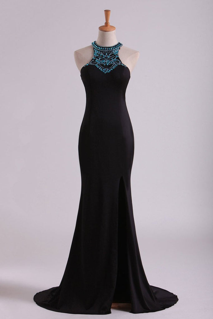 2020 Black Scoop Column Prom Dresses Chiffon With Rhinestones & Beads Sweep Train