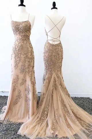 Sexy Mermaid Prom Dresses Criss Cross Back Evening Dresses, Hot Selling Long Formal