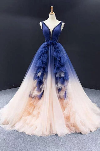 Ball Gown Ombre V Neck Tulle Royal Blue Long Prom Dresses, Quinceanera Dresses SME15067