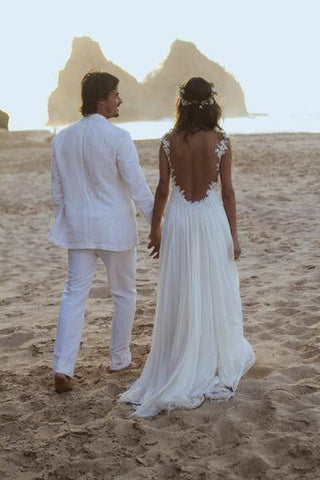Backless Lace Open Back Sweetheart A-Line White Chiffon Sleeveless Beach Wedding Dresses SME981