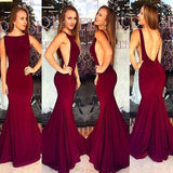 Red Backless Bateau Neck Mermaid Stretch Satin Prom Dresses 2019 Prom Dresses JS669