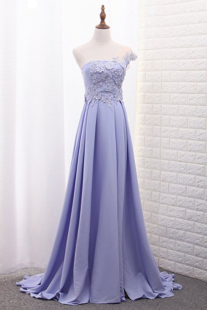 2021 One Shoulder A Line Satin Prom Dresses With Handmade Flowers And