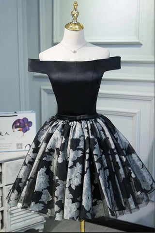 Black Satin Off the Shoulder Cute Homecoming Dresses Short Prom Dress Hoco Gowns SME14967
