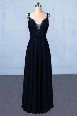 Dark Navy Blue Straps Floor Length Evening Dresses, Long Chiffon Prom Dress With