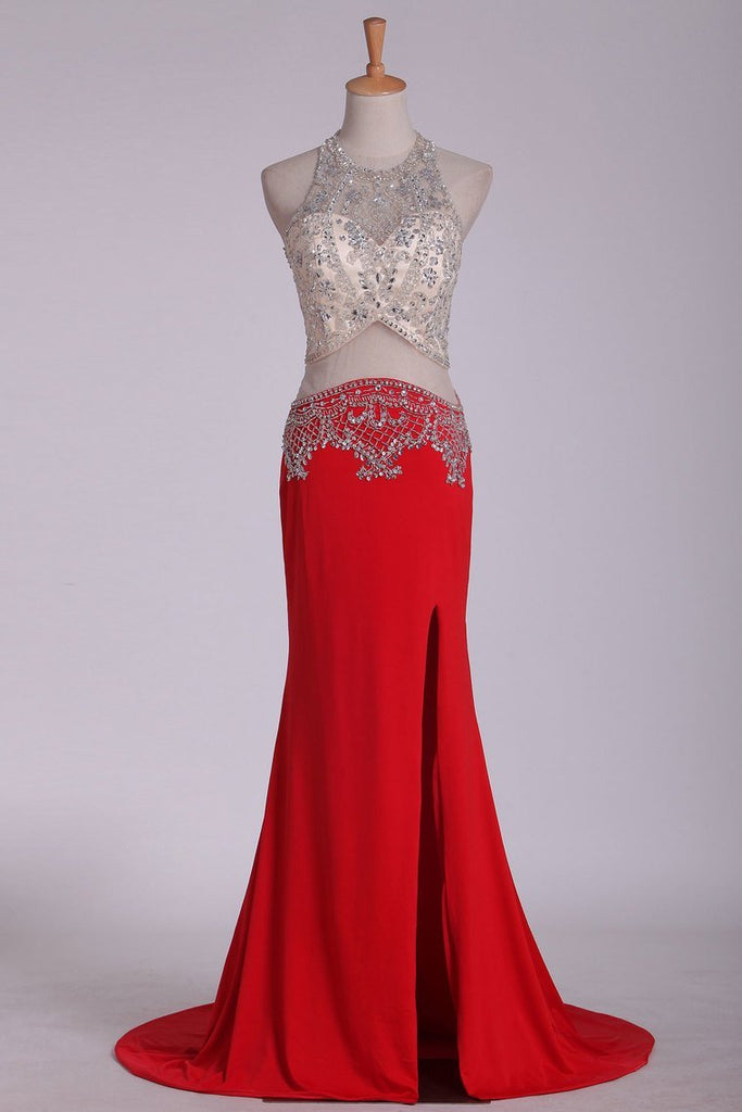 Prom Dresses Scoop Spandex With Beading And Slit Sweep Train