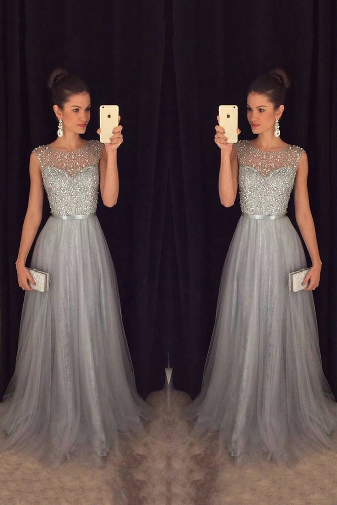 2019 Tulle Scoop A Line Prom Dresses With Sash And
