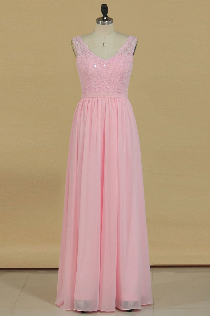 2021 Bridesmaid Dresses V Neck A Line Chiffon With Beads Floor Length