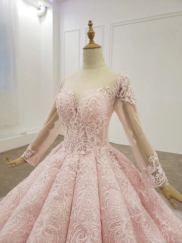 Elegant Ball Gown Pink Long Sleeves Appliques Prom Dresses, Quinceanera SME20481