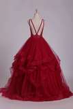 Tulle Ball Gown With Beading Prom Dresses Scoop Open
