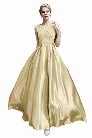Elegant A-Line Applique Round Neck Lace Satin Ball Gown Evening Prom