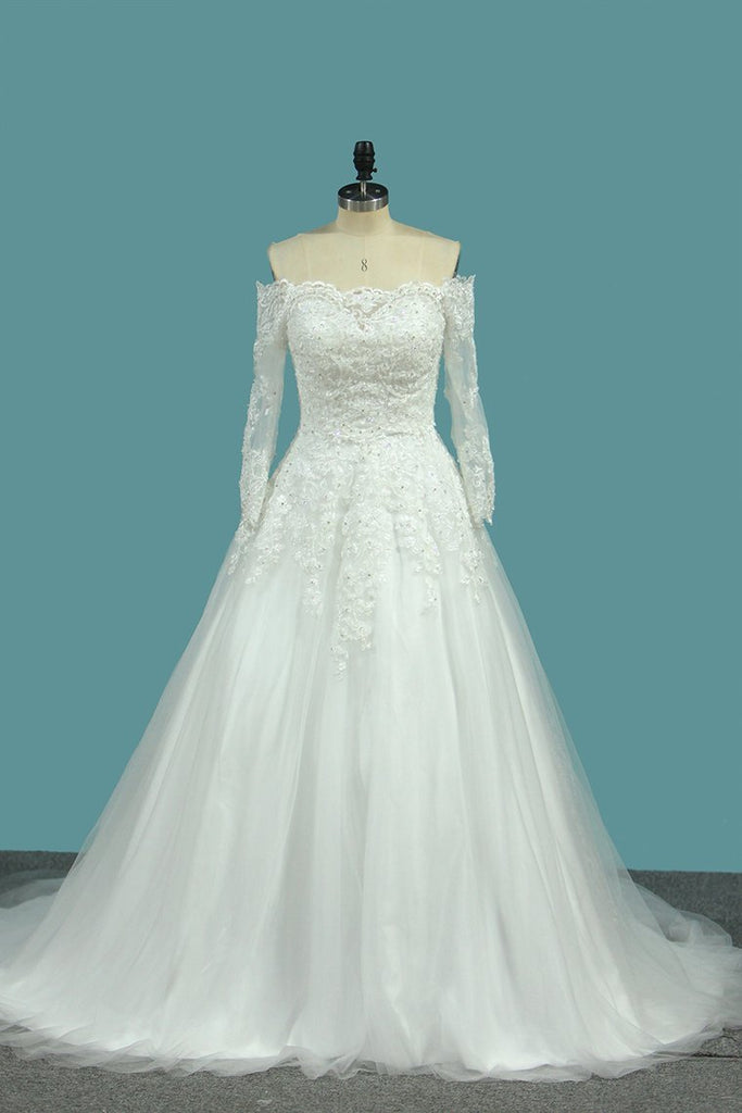 2019 Sweetheart Wedding Dresses A Line Tulle With Applique