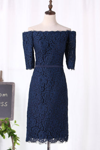 2021 Boat Neck Lace Bridesmaid Dresses Sheath Mid-Length