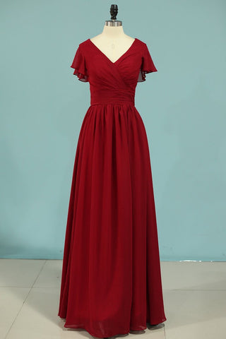 V-Neck A Line Chiffon Bridesmaid Dresses Floor