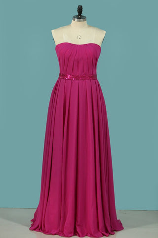 2020 A Line Strapless Bridesmaid Dresses Chiffon