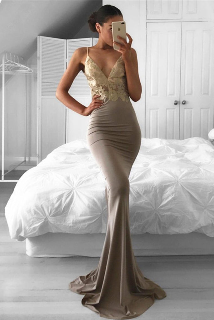 2020 Mermaid Spaghetti Straps Prom Dresses With Applique