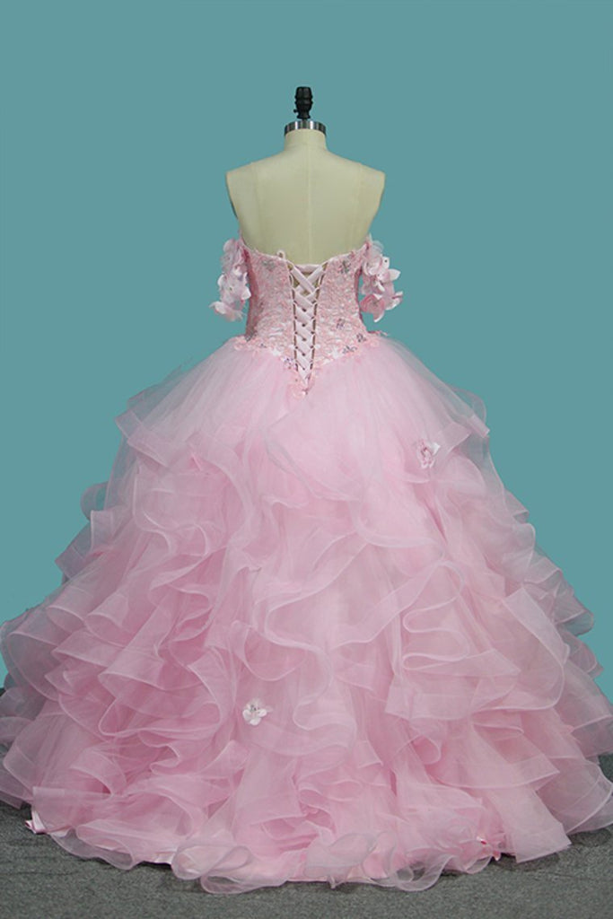 Sweetheart Quinceanera Dresses Tulle With Applique And