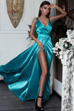 Sexy A Line Split Turquoise V-Neck Green Satin Prom Dresses with High Slit JS633